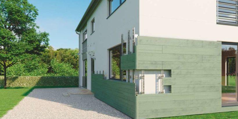 Fassade energetisch sanieren und in Holzoptik neu gestalten